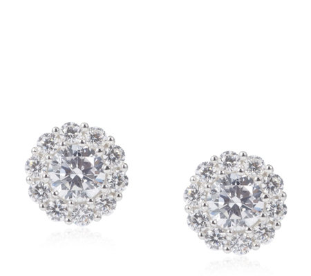 Diamonique 1.6ct tw Cluster Stud Earrings Sterling Silver