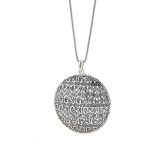 Or Paz Disc Lace Pendant & 61cm Chain Sterling Silver