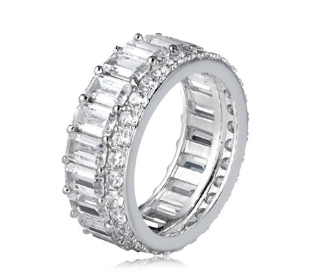 Diamonique 5.9ct tw Baguette Band Ring Sterling Silver