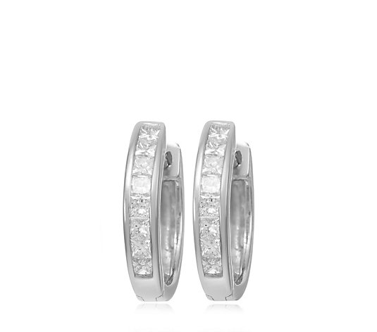 0.25ct Diamond Channel Set Huggie Hoop Earrings 9ct Gold