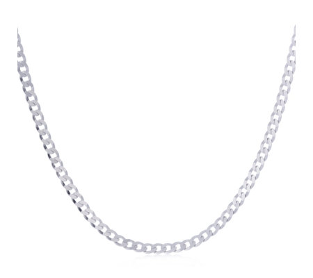 Bianca Mens Curb Chain Necklace Platinum Plated Sterling Silver