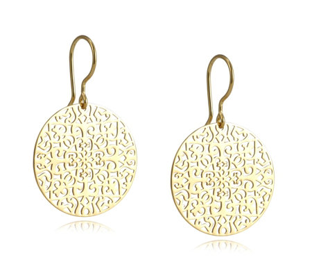 K By Kelly Hoppen Capri Collection Filigree Disc Earrings Sterling Silver