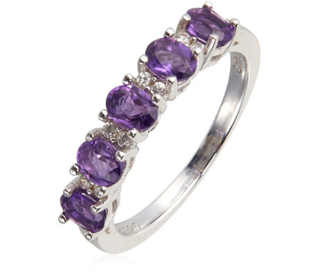 0.75ct Amethyst 5 Stone Ring Sterling Silver