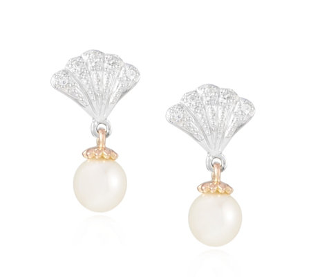 d288544540291 Clogau 9ct Rose Gold & Sterling Silver Windsor Pearl Drop Earrings - QVC UK