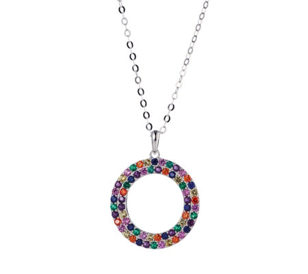 Diamonique 1.2ct tw Simulated Sapphire Round Pendant & Chain Sterling Silver