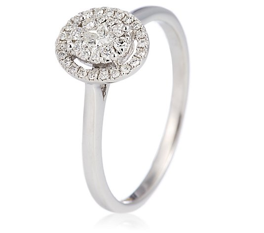 0.25ct Diamond Illusion Pave Halo Ring 9ct Gold