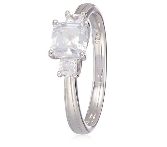 Diamonique 2.2ct tw Asscher Cut Trilogy Ring Sterling Silver