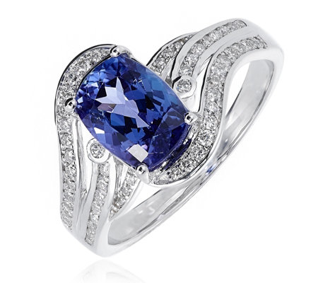2.00ct Cushion AAAA Tanzanite & 0.30ct Diamond Wave Ring 18ct White Gold