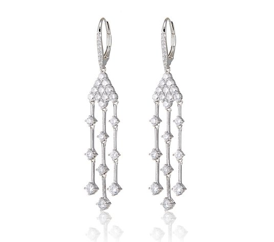 Diamonique 1.9ct tw Scatter Leverback Earrings Sterling Silver