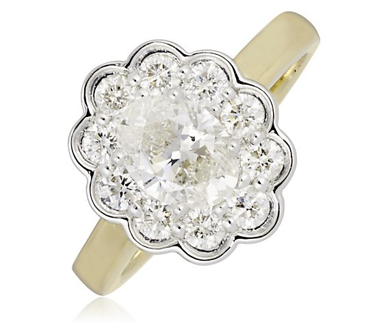 1.58ct Diamond Oval Flower Cluster Estate Collection Ring 18ct Gold