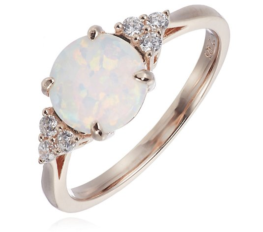 Diamonique 0.1ct tw Simulated Opal Ring Sterling Silver