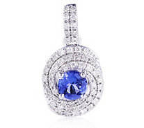 0.48ct AAA Tanzanite & 0.17ct Diamond Halo Pendant 18ct Gold - 319664