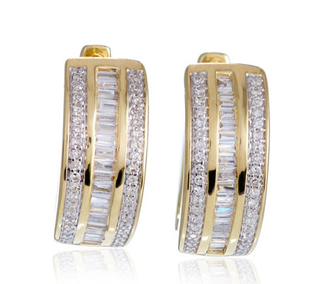 0.50ct Diamond Baguette & Round Cut Huggie Earrings 9ct Gold