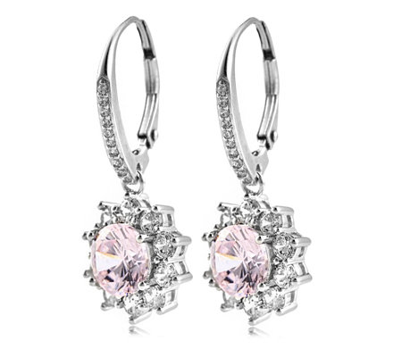 Diamonique 3.6ct tw Cluster Leverback Earrings Sterling Silver