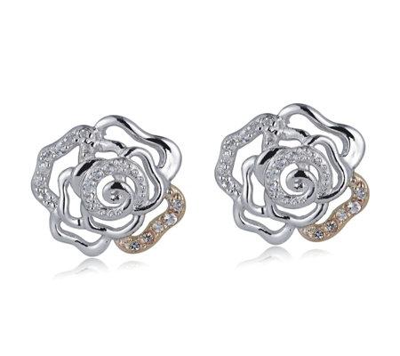 Clogau 9ct Rose Gold & Sterling Silver Royal Roses Earrings
