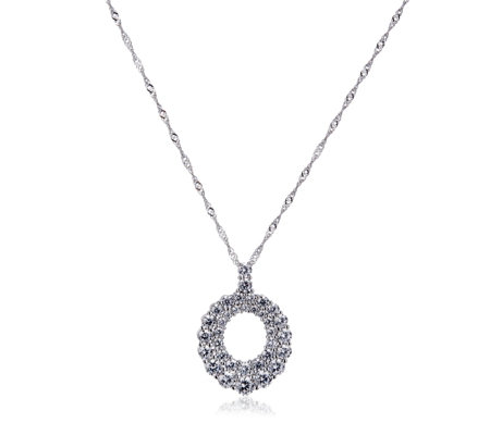 Michelle Mone for Diamonique 3.1ct tw Round Pendant & Chain Sterling Silver