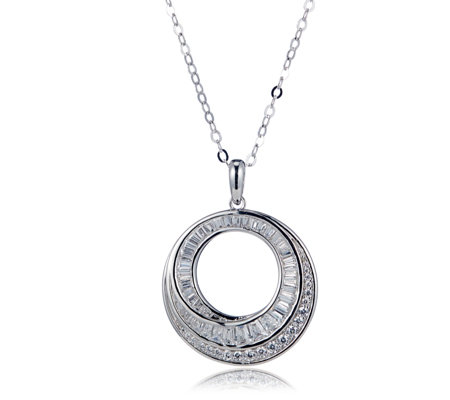 Diamonique 1.4ct tw Entwining 25th Anniversary Pendant & Chain Sterling Silver