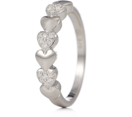 0.10ct Diamond Heart Pave Ring Sterling Silver