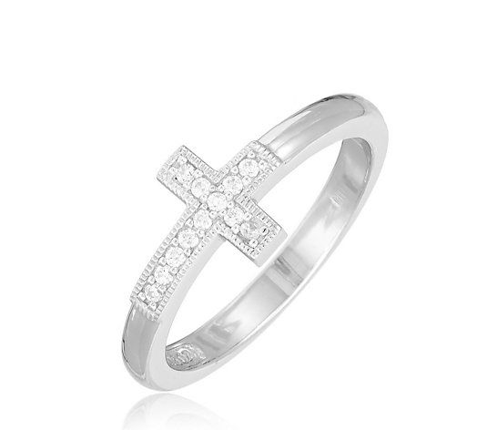Diamonique 0.12ct tw Cross Ring Sterling Silver