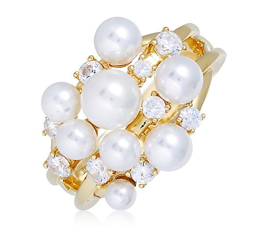 Dannii Minogue Diamonique High Tea Pearl Ring Sterling Silver