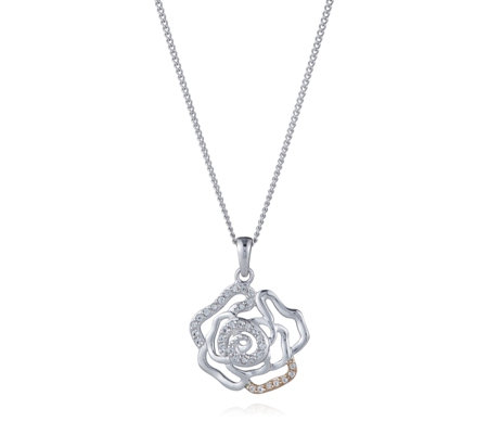Clogau 9ct Rose Gold & Sterling Silver Royal Roses 58cm Necklace