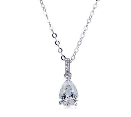 Diamonique 2ct tw Solitaire Pendant & 45cm Chain Sterling Silver