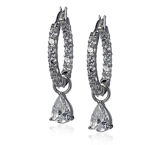 Diamonique 3.1ct tw Charm In & out Hoop Earrings Sterling Silver