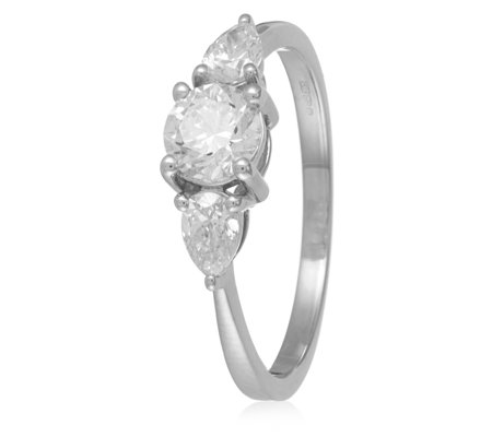 0.96ct Certified VS Diamond Round & Pear Cut Trilogy Ring 18ct Gold