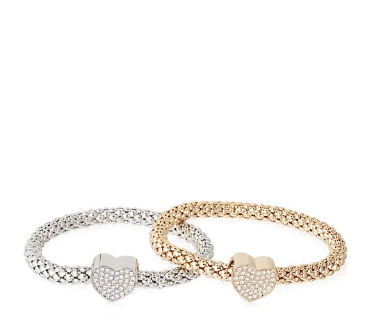 Frank Usher Set of 2 Heart Charm Stretch Bracelets