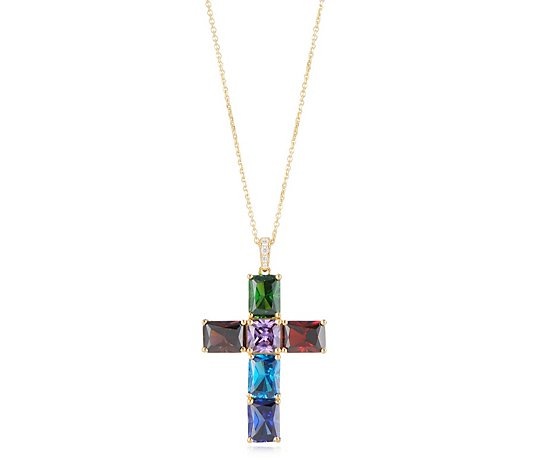 Diamonique 8.5ct tw Rainbow Cross Pendant & Chain Sterling Silver