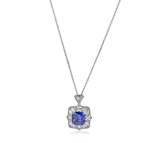 Diamonique by Tova 7.3ct tw Milgrain Pendant & Chain Sterling Silver