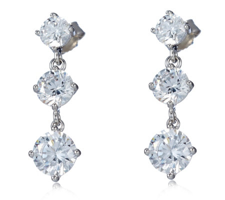 Diamonique 5ct tw Trio Stud Drop Earrings Sterling Silver