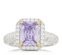 Diamonique 3ct Radiant Cut Halo Ring Sterling Silver - 336767