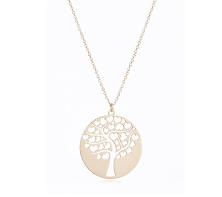 9ct Gold Hearts Tree of Life 45cm Necklace