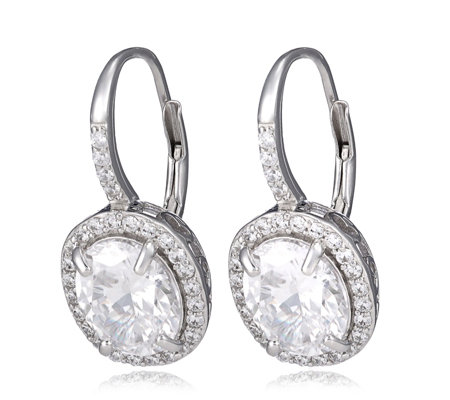 Diamonique 8.4ct tw Simulated Gemstone Leverback Earrings Sterling Silver