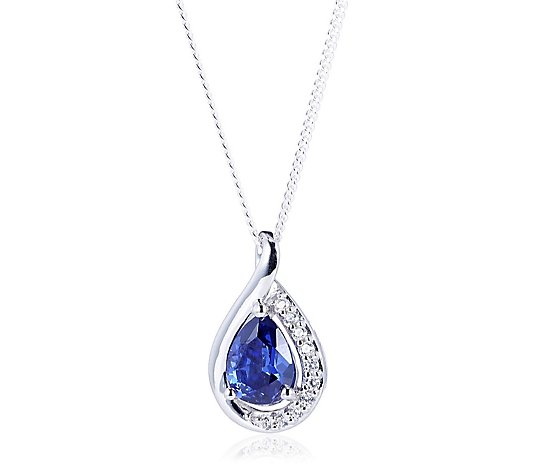 Diamonique 1.4ct tw Pear Twist Pendant & 45cm Chain Sterling Silver