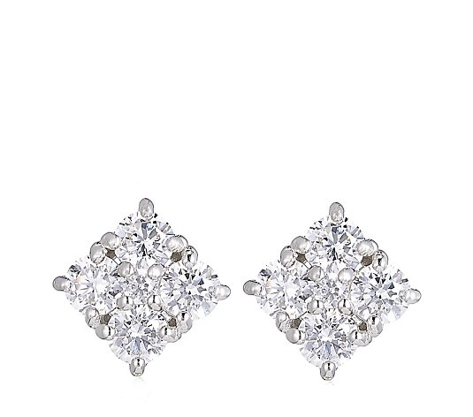 Diamonique 2 8ct Tw Square Stud Earrings Sterling Silver Qvc Uk