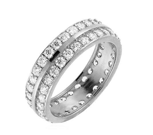 Diamonique 1.8ct tw Double Row Eternity Ring Sterling Silver