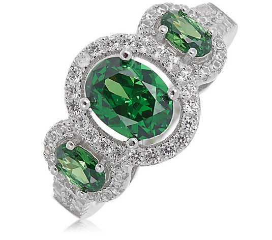 2.50ct Choice of Created Gemstone Three Stone Ring Sterling Silver