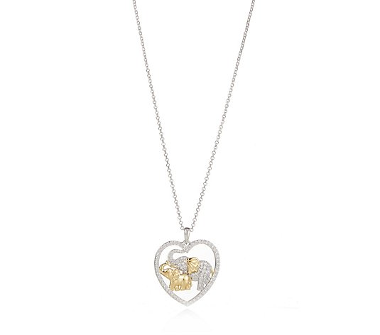 Diamonique by Tova 0.8ct tw Elephant Heart Pendant & Chain Sterling Silver