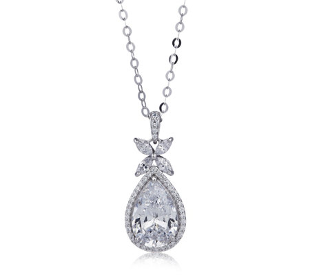 Michelle Mone for Diamonique 3.6ct tw Marquise Pendant & Chain Sterling Silver