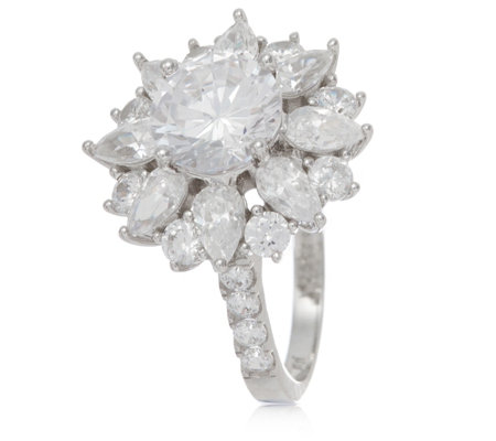 Michelle Mone for Diamonique 4.8ct tw Cluster Flower Ring Sterling Silver