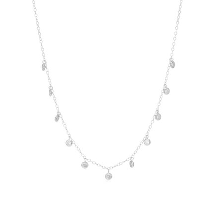 Adorn by Diamonique 3.8ct tw Bezel Drop Necklace Sterling Silver