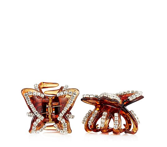 Frank Usher Set of 2 Crystal Butterfly Hair Claws