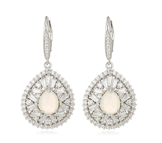 Diamonique by Tova 4.3ct tw Simulated Opal Earrings Sterling Silver