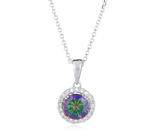 Diamonique 2ct tw Simulated Alexandrite Pendant & Chain Sterling Silver