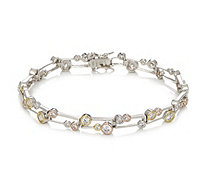 Diamonique 6ct tw Bezel Set Station 19cm Bracelet Sterling Silver - 311069