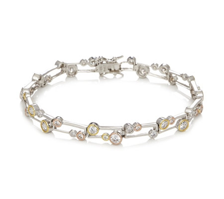 Diamonique 6ct tw Bezel Set Station 19cm Bracelet Sterling Silver