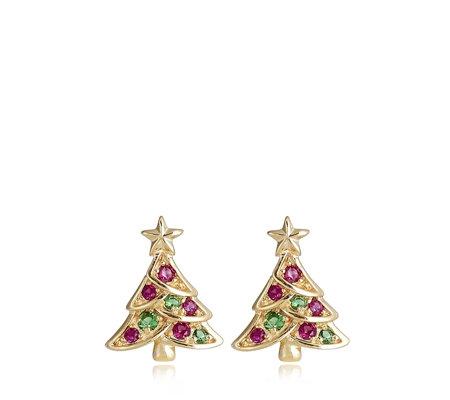 Qvc Christmas.Diamonique 0 18ct Tw Christmas Tree Earrings Sterling Silver Qvc Uk