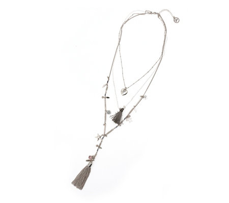 Bibi Bijoux 3 Row Tassel Necklace